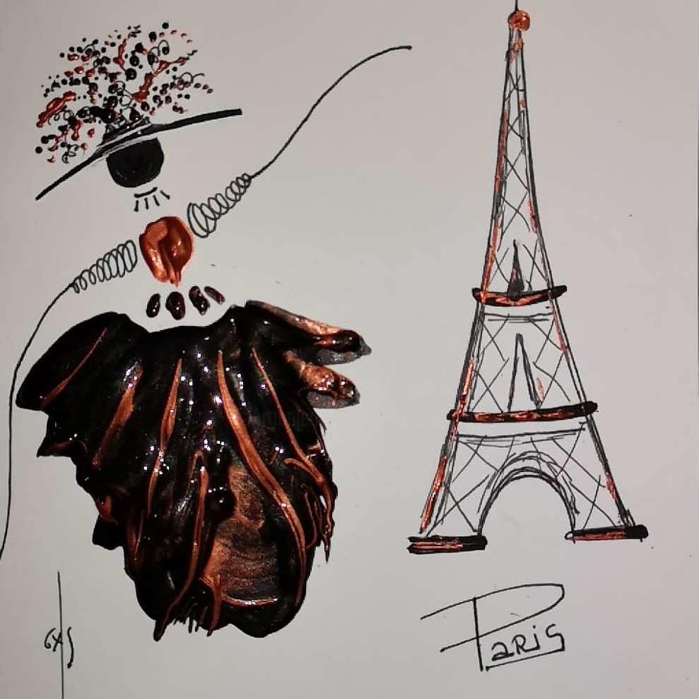 Gas - La Demoiselle à  Paris, avec son jupon noir cuivré