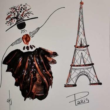 La Demoiselle à  Paris, avec son jupon noir cuivré